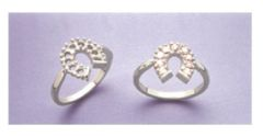 Sterling Silver Round Horseshoe Style Pre-Notched Ring Setting Size 4-9 For (9) 2.25mm Stones