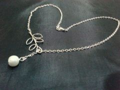 Cream Imitation Pearl Lariat Style Silver Plated Necklace
