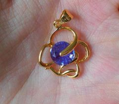 Fancy 18kt Yellow Gold Plated 6mm Round Bright Tanzanite CZ Pendant (Chain Not Included)
