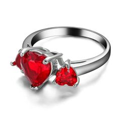 10kt White Gold Filled Bright Red Heart Cubic Zirconia Ring Size 5.5