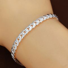 "5mm Silver Plated 7.87"" Flat Snake Chain With Lobster Claw Clasp"