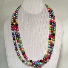 Multi Strand Handmade Mix Color Glass Pearl Necklace, Multi-color Pearl Necklace, Rainbow-color Pearl Necklace