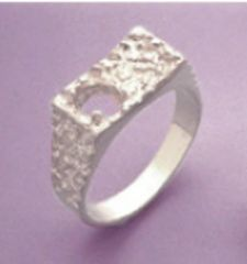 7x5mm Oval Sterling Silver Men's Pre-Notched One Stone Textured Style Ring Setting Size 7-14