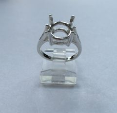 12x9mm Oval Sterling Silver Split Shank Pre-Notched Ring Setting Size 3-11