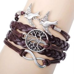 Antique Silver Infinity Double Birds Charm Leather Wrap Bracelet