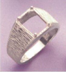 10x8 or 11x9mm Octagon Sterling Silver Men's Pre-Notched Textured Style Ring Setting Size 7-14