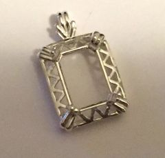 14kt Gold or Sterling Silver Emerald Fancy Pendant Setting (14x10mm)