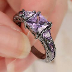 10kt Black Gold Filled Bright Purple Cubic Zirconia Ring Size 9