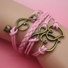 Antique Bronze Infinity Double Heart Charm Leather Wrap Bracelet