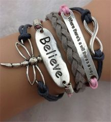 "Infinity ""Believe"" Dragonfly Corded Wrap Bracelet"