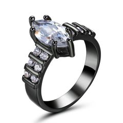10kt Black Gold Filled Bright White Marquise Cubic Zirconia Ring Size 7.5