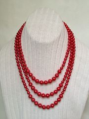 Multi-strand Red Glass Pearl Necklace.