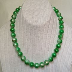 Green Round Hand- Painted Crystal Glass Loose Beads Necklace, Green Hand-Painted Beads Necklace.