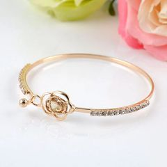 Crystal Rose Flower Bangle Gold Plated Cuff Bracelet