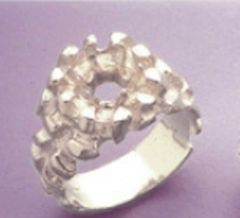 8mm Round Sterling Silver Men's Pre-Notched Nugget Style Ring Setting Size 7-14