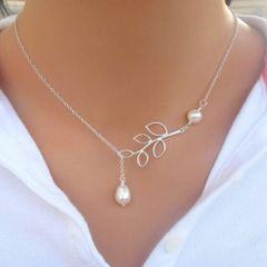 Elegant 9kt White Gold Filled Imitation Pearl Necklace