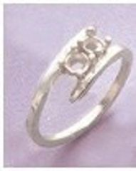 Sterling Silver (2) 3mm Round Silver Mother's Pre-Notched Ring Size 5, 6, 7, 8 & 9