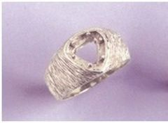 6x6-9x9mm Trillion Sterling Silver Men's Pre-Notched Textured Style Ring Setting Size 7-14