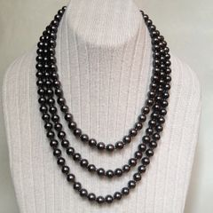 Multi Strand Handmade Glass Pearl Necklace, Dark Gray Glass Pearl Necklace with Silver Plated Figure-8 Clasp