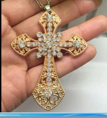 Gilded Crystal Cross Necklace