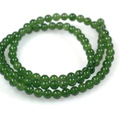 "16"" Strand of AAA Rated Genuine (Natural) Nephrite Jade Beads (3mm-10mm)"