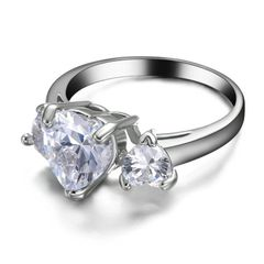 10kt White Gold Filled Bright White Cubic Zirconia Ring Size 5.5