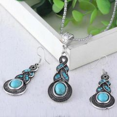 Elegant Imitation Turquoise Dangle Necklace & Earring Set