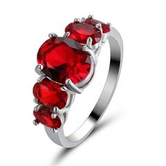 10kt White Gold Filled Bright Red Oval Cubic Zirconia Ring Size 7.5 & 8.5