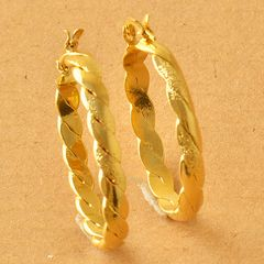 10kt Yellow Gold Filled Braided (34mm) Hoop Earrings