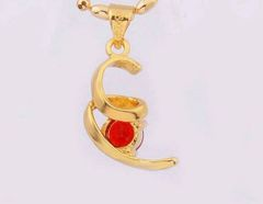 Fancy 18kt Yellow Gold Plated 6mm Round Bright Lab Ruby Pendant (Chain Not Included)