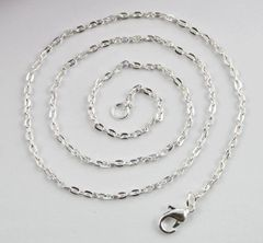 20 Inch 925 Silver Plated 3x2mm Link Chain