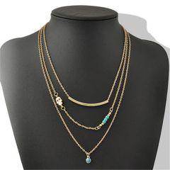 3 Layer Chain Hamsa Fatima Hand Evil Eye Imitation Turquoise Choker Necklace