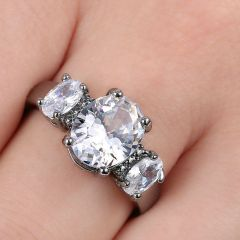 10kt Black Gold Filled Bright White Cubic Zirconia Ring Size 5.5