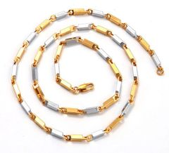 "10kt White & Yellow Gold Filled 24"" Heavy (34 grams) Link Chain With Lobster Claw Clasp"