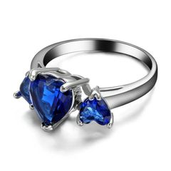 10kt White Gold Filled Bright Blue Cubic Zirconia Heart Ring Size 7.5