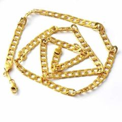 Yellow Gold Filled Heavy Cuban Link Chain With Lobster Claw Ring Clasp