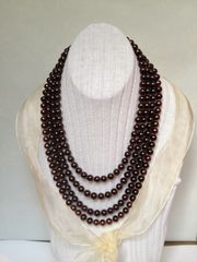 Multi-strand Glass Pearl Necklace, Dark Brown Chocolate Pearl Necklace.