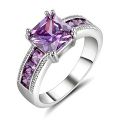 10kt White Gold Filled Bright Purple Cubic Zirconia Ring Size 7.5