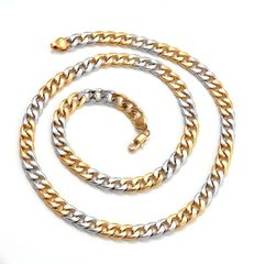 18kt White & Yellow Gold Filled Heavy (45.5 grams) Link Chain With Lobster Claw Clasp
