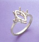 10x5-16x8mm Sterling Silver Marquise Side Accented Pre-Notched Ring Setting Size 6-8