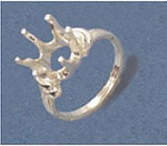 10mm Round Sterling Silver Semi-Offset Style Pre-Notched Ring Setting Size 5-9