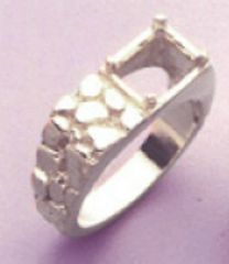 9x7mm Octagon Sterling Silver Men's Pre-Notched Nugget Style Ring Setting Size 7-14