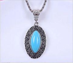 Elegant Imitation Turquoise Dangle Necklace: Silver Plated
