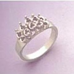 10-Stone Round Sterling Silver Pre-Notched Cluster Style Setting Size 6-8