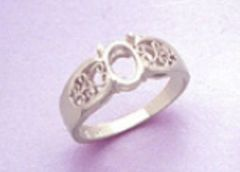 6x4-10x8mm Oval Cabochon Sterling Silver Filigree Style Pre-Notched Ring Setting Size 3-10
