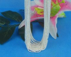 "Silver Plated 24"" Bead Chain With Crab Claw Clasp"