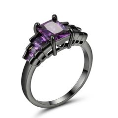 10kt Black Gold Filled Bright Purple Cubic Zirconia Ring Size 7.5