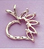 14kt Gold or Sterling Silver Marquise Heart Pendant Setting (5x2.5mm)