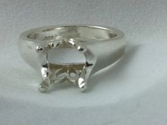 3.5-9mm Round Sterling Silver Tulip Style Pre-Notched Ring Setting Size 5-9