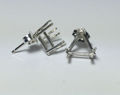 Two Sterling Silver Trillion Wire Pre-Notched Earring Settings (5x5mm-9x9mm)